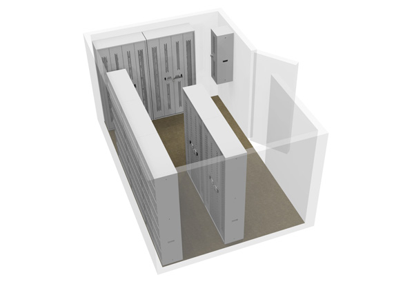 3D Cad Drawing - Bi-fold Cabinets within Armoury