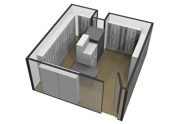 3D Cad Bi-Fold Cabinets within Armoury Drawing Top View